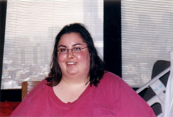 Here is me on the     day after surgery Dec. 11, 2002.    Don't I look lovely!!!!