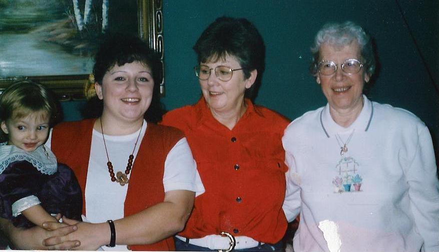 With family (mom, grandma and Carley) December 2001,  two months before BLA