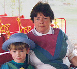 Sue with her grandson in 1995